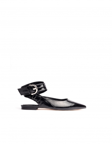 Black patent leather backless ballerinas Madame