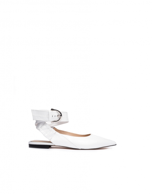 White patent leather backless ballerinas Madame