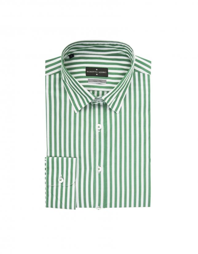 Chemise à rayures vertes et blanc