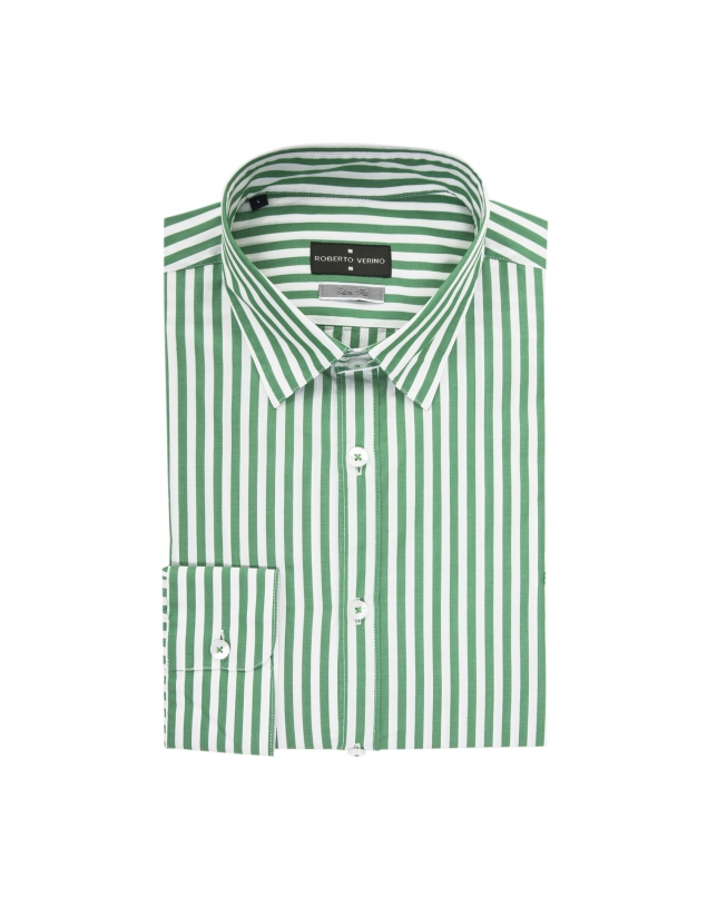 Green and white striped shirt - Collection | Roberto Verino