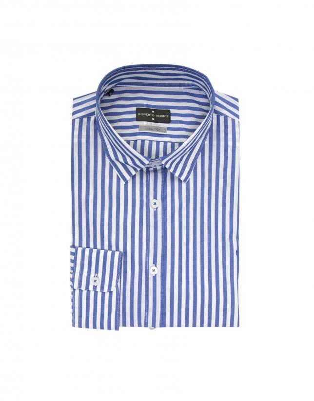 Chemise à rayures bleue et blanc