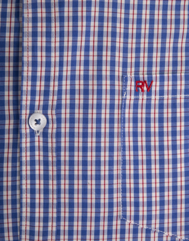 Camisa cuadros azul perfil rojo
