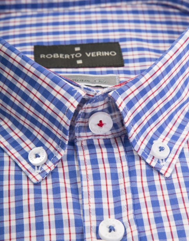 Blue and white checked shirt with red line