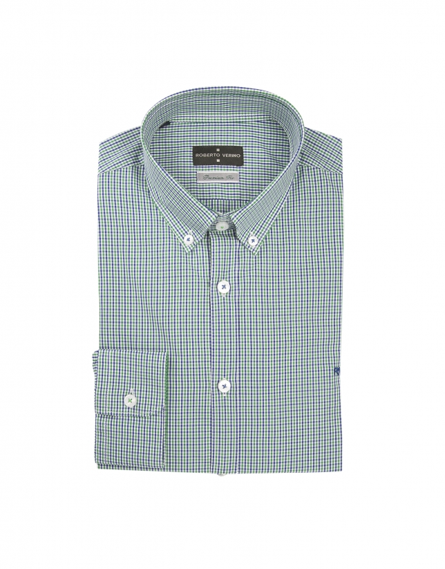Blue and green microchecked shirt