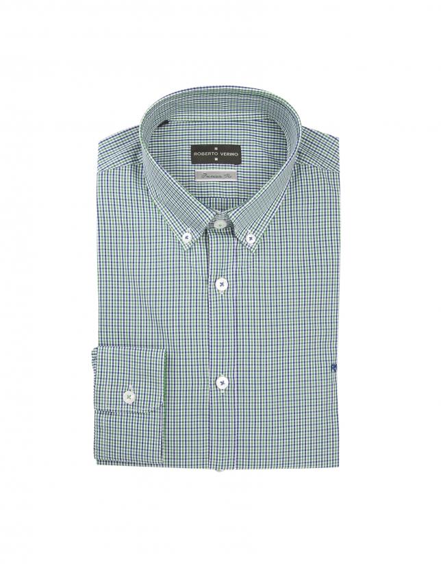 Chemise décontractée à petits carreaux vert et bleu