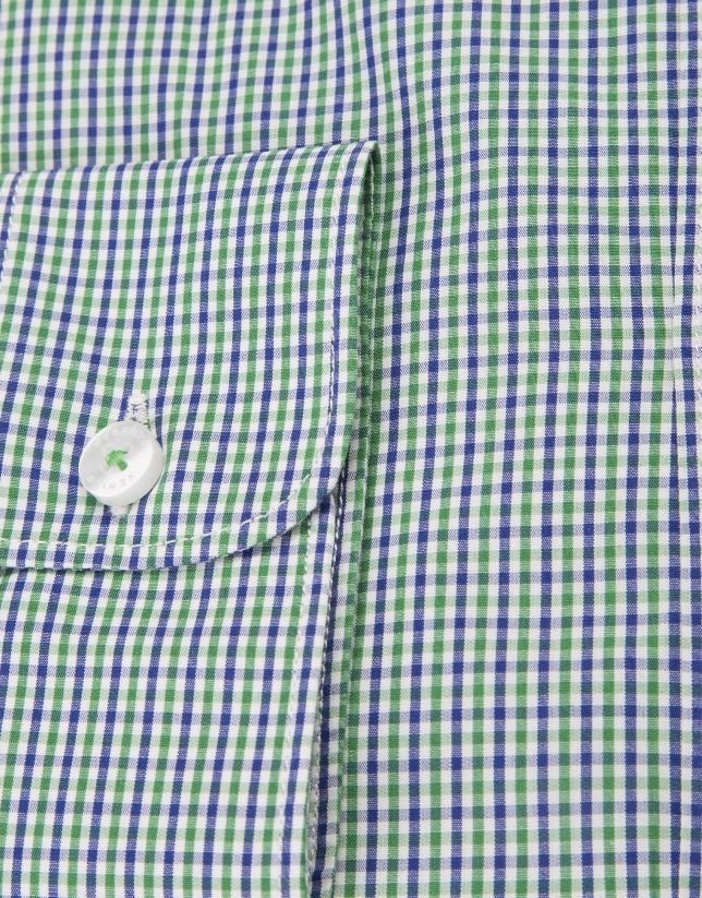 Camisa cuadros pequeños azul y verde