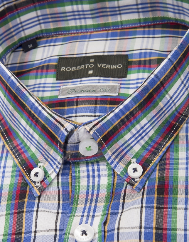 Red, blue and green checked shirt