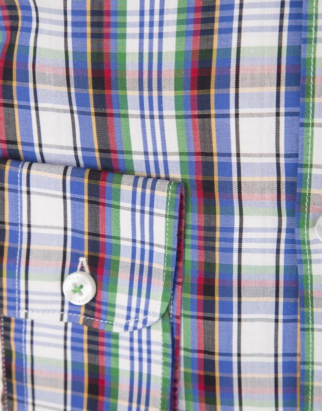 Camisa cuadros grandes rojo, azul y verde