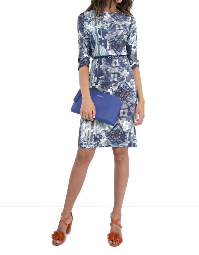 Vestido punto estampado azul ultramar