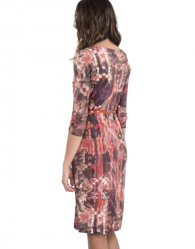 Coral print knit dress
