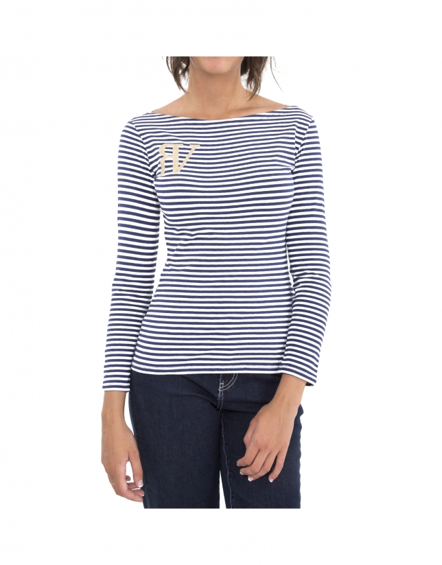 Blue striped top with logo