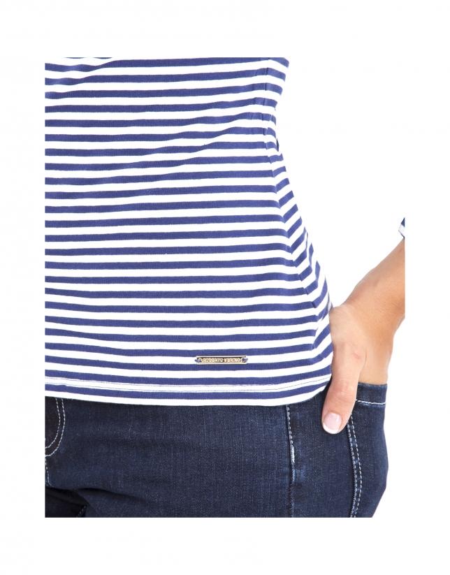 T-shirt bleu à rayures avec logo