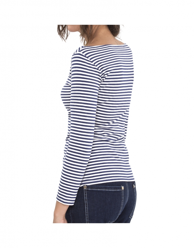 Camiseta rayas azul con logo