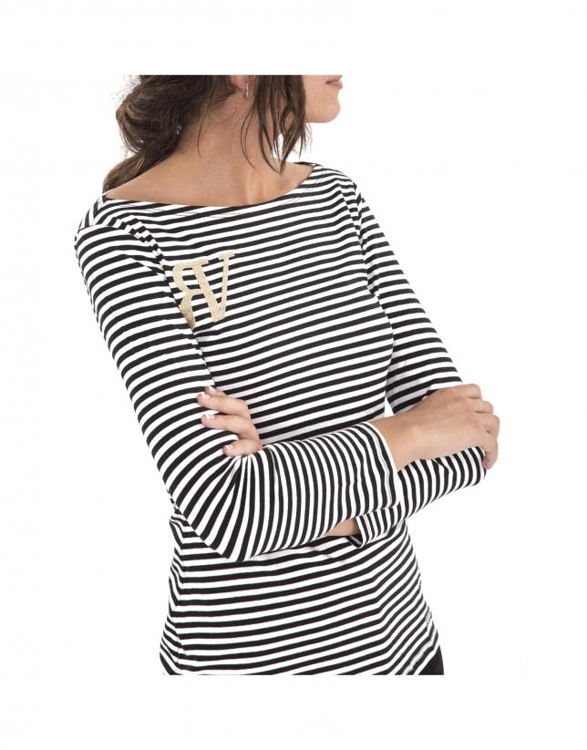 T-shirt noir à rayures avec logo