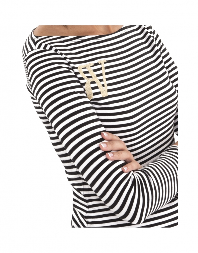 Black striped top with logo