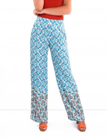 Pantalon palazzo imprimé bleu indigo