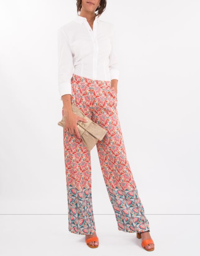 Pantalon palazzo imprimé azalée