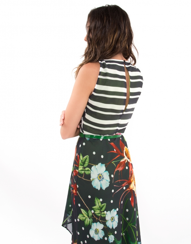 Striped dress with floral design and green lining
