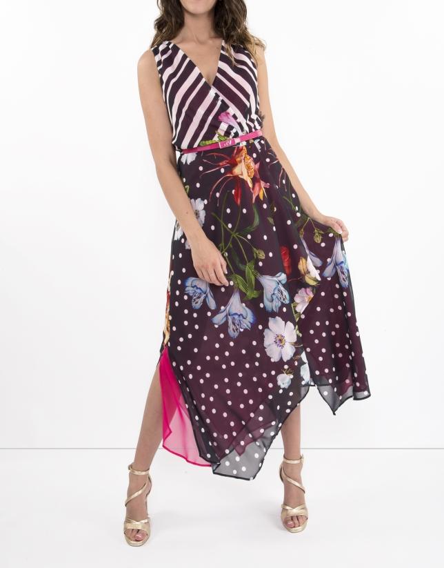 Vestido rayas y flores interior fucsia