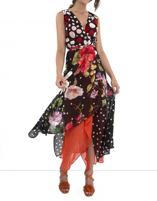 Vestido lunares y flores interior coral