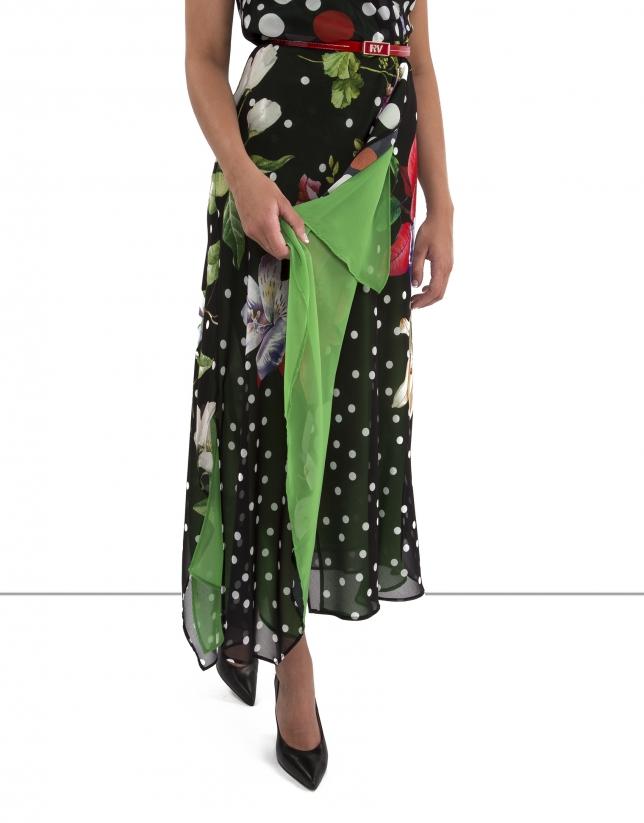 Robe à pois et fleurs, intérieur vert