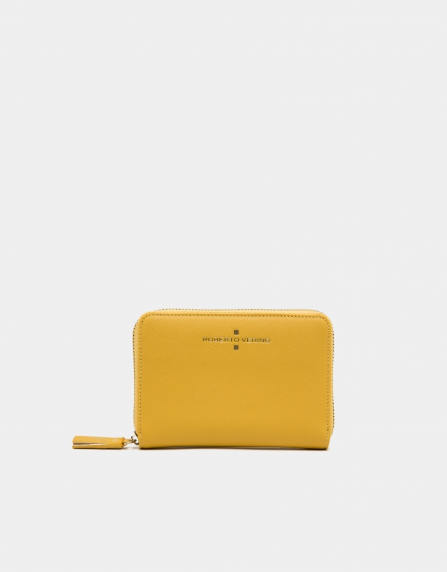 Yellow Saffiano leather mili billfold