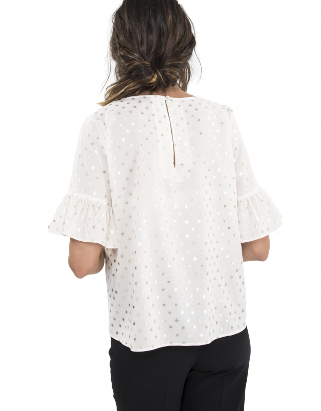 Gold dotted print top with flounce sleeves