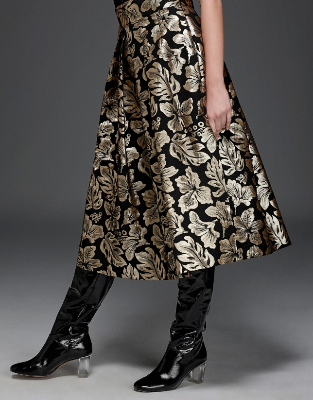 Gold floral jacquard full midi skirt