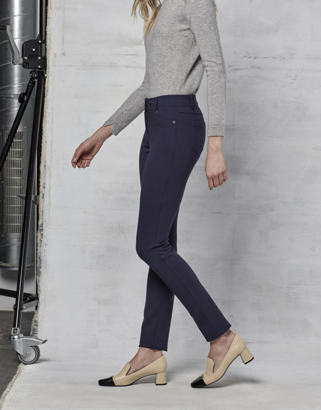 Pantalon à cinq poches bleu marine