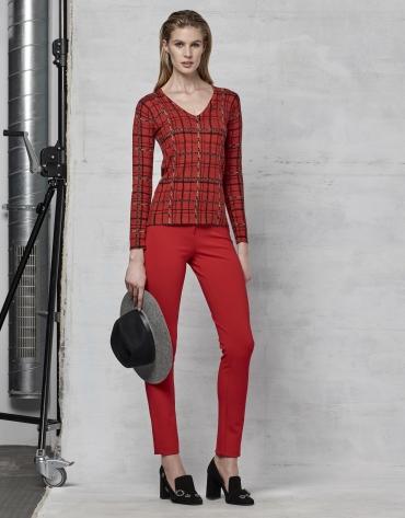 Pantalon à cinq poches rouge