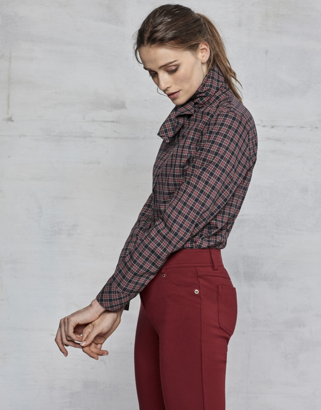 Pantalon à cinq poches grenat