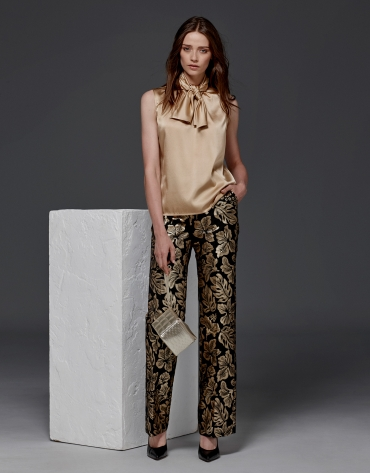 Gold floral jacquard straight pants