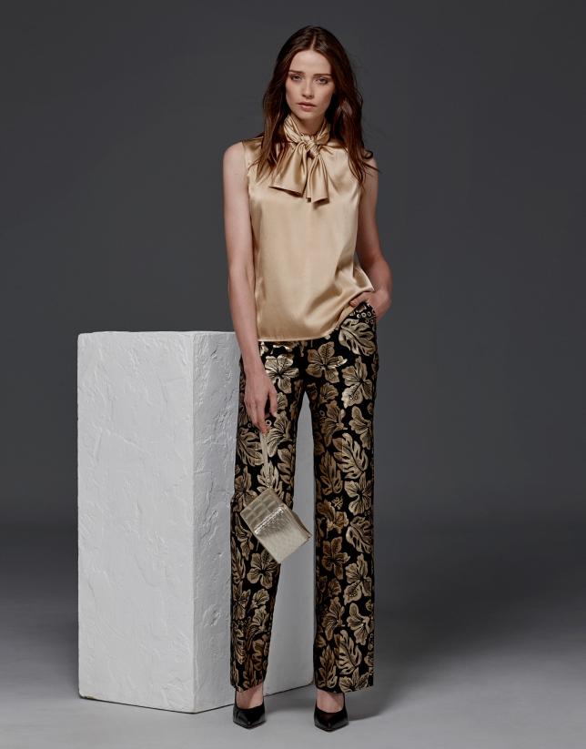 Pantalon droit en jacquard de fleurs couleur or
