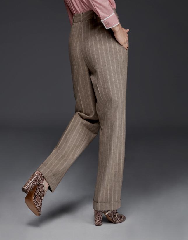 Pantalon à pinces en rayures diplomatiques