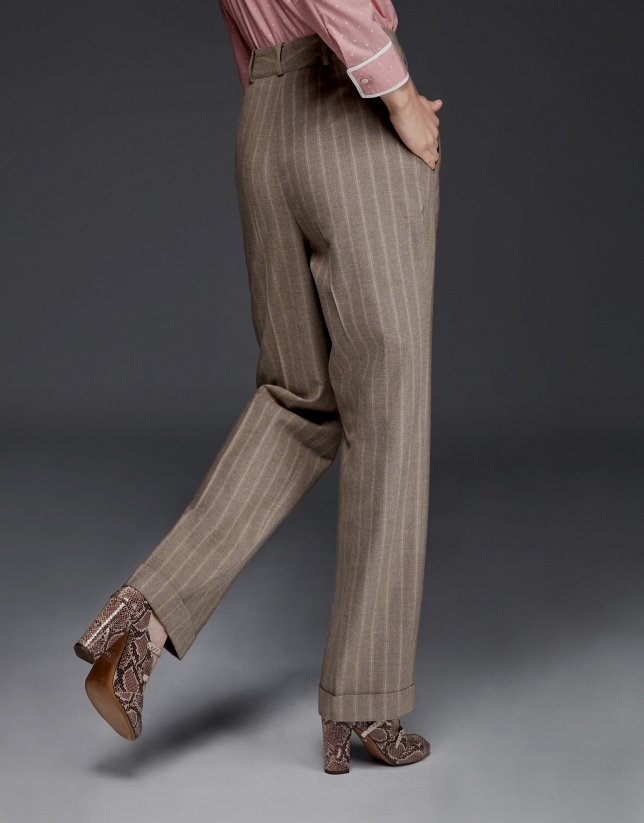 Pinstriped pants with darting