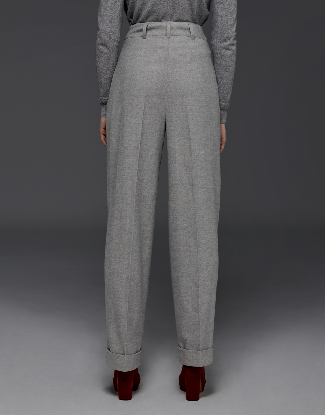 Gray herringbone pants with darts