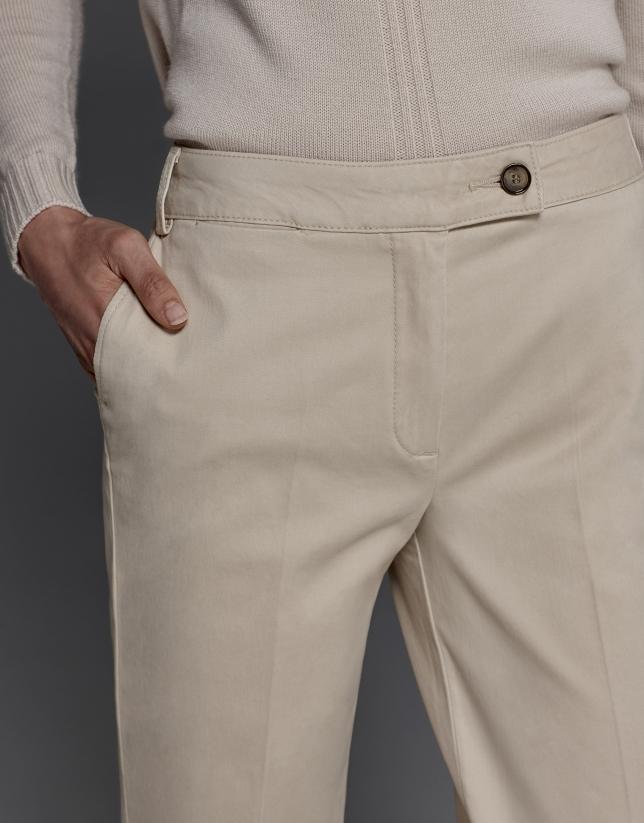 Pantalón recto marfil