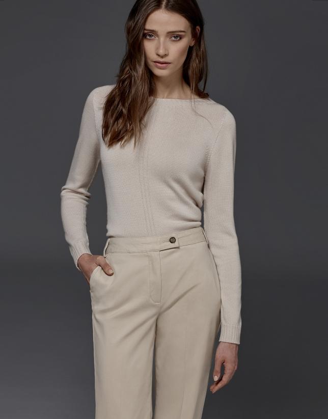 Pantalon droit couleur ivoire