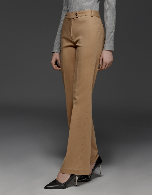 Camel straight pants