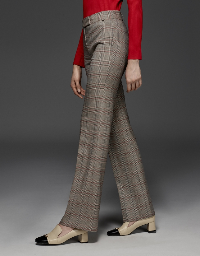 Glen plaid straight pants