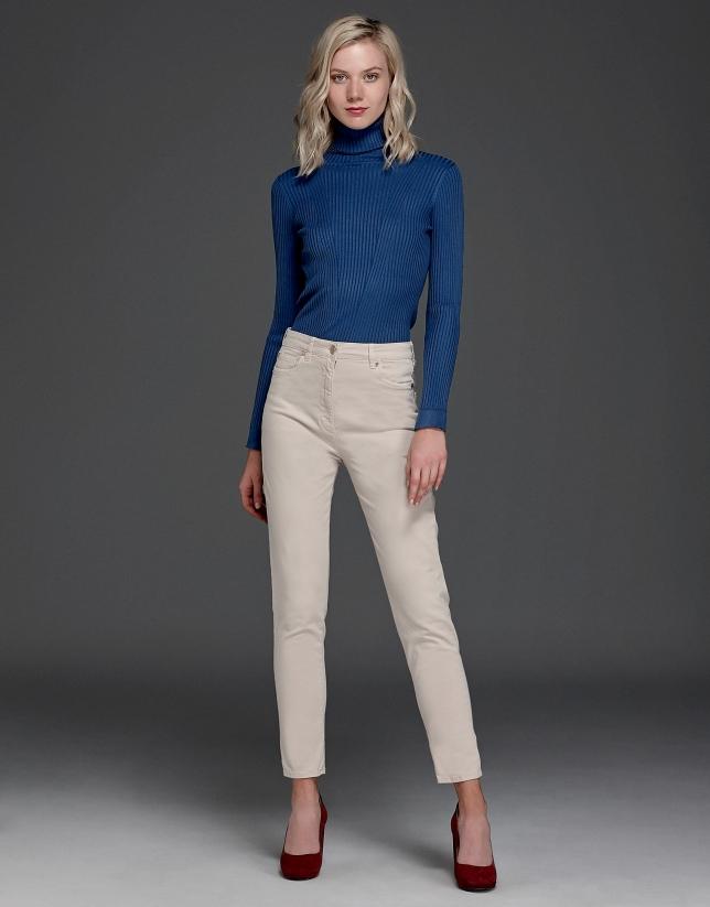 Pantalon décontracté couleur ivoire