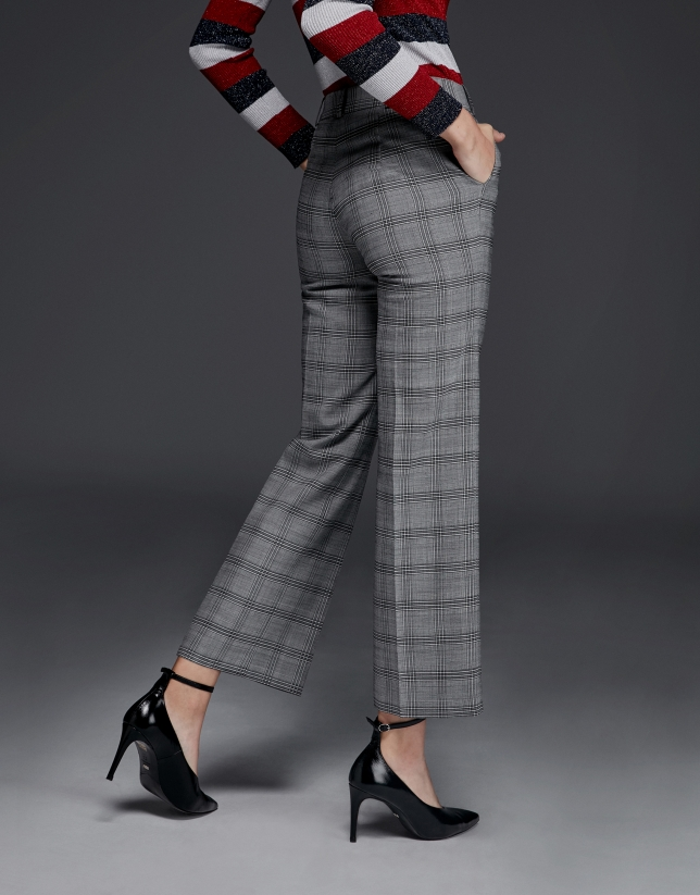 Glen plaid mid-length pants