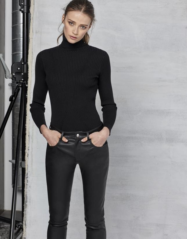 Black lambskin pants
