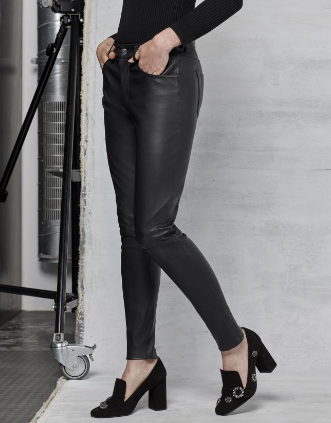Pantalon en cuir d'agneau noir