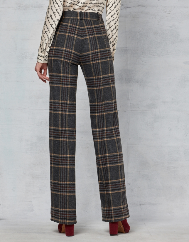 Brown checked straight pants