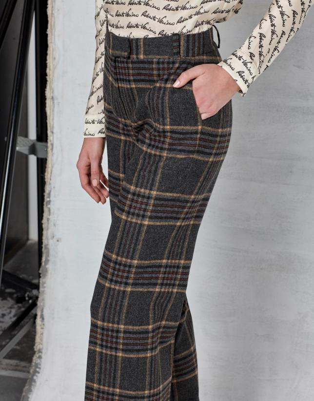 Pantalon droit à carreaux marron