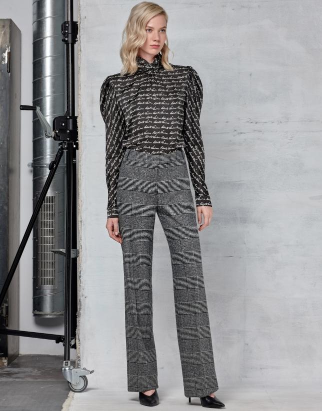 Gray checked straight pants
