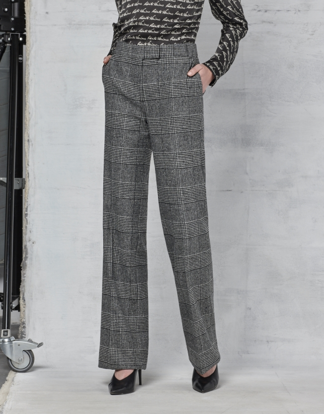 Pantalon droit à carreaux gris