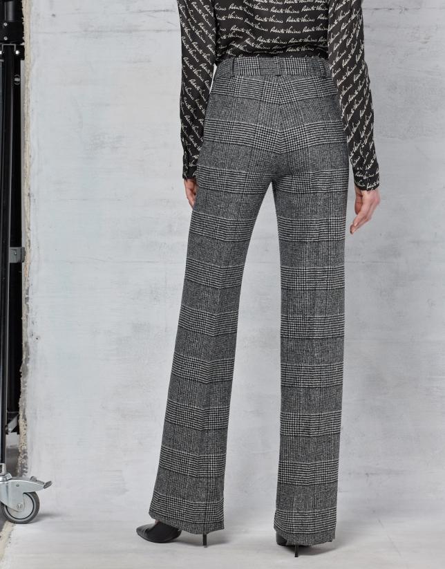 Pantalón recto cuadros gris