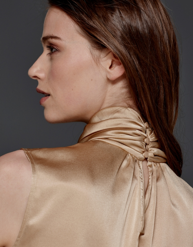 Beige silk top with jabot collar